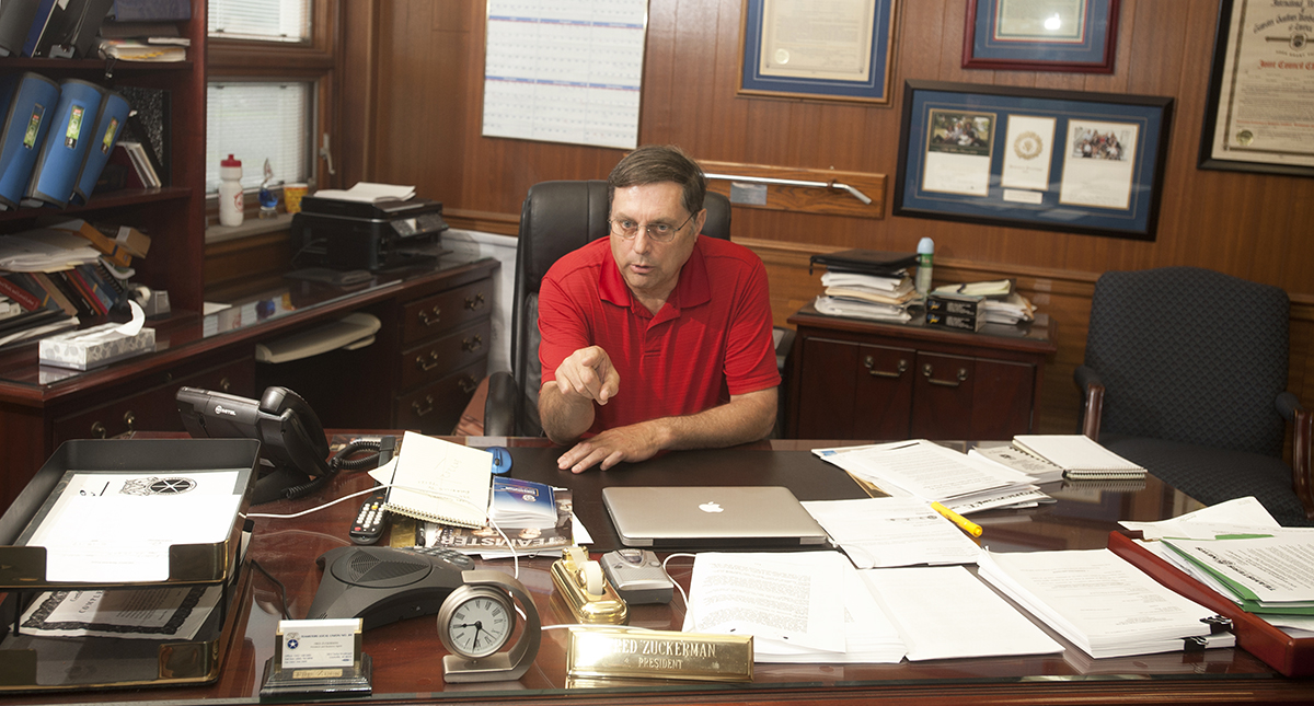Fred Zuckerman, president of the International Brotherhood of Teamsters Union Local 89, in his Louisville, Kentucky office.) Zuckerman narrowly lost his bid to replace the union's national president, James P Hoffa. 18 May 2017