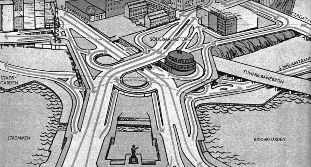 """Transportarbetaren visade läsarna hur 1960-talets Slussen i Stockholm skulle fungera med högertrafik. Bildtexten löd: """"Trafikmaskinen vid Slussen är trots att den byggdes 1935 är byggd för högertrafik""""."""
