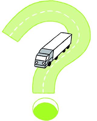 Frågetecken med lastbil