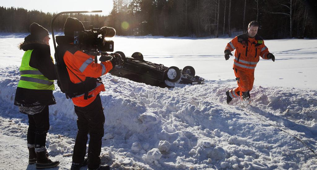 Jörgen Björk och filmteamet.