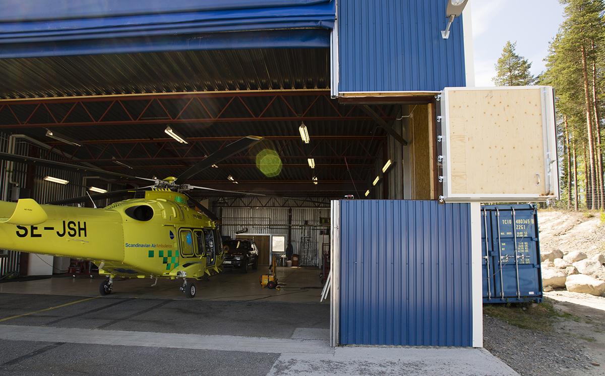 Helikopterhangar, Lycksele flygplats.