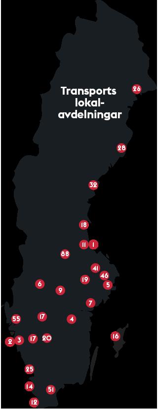 Karta med Transports lokalavdelningar