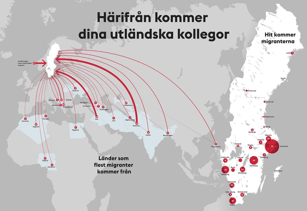 Världskarta med migrantströmmarna till Sverige