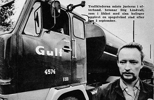 Med förut. Stig Lindvall var en av sex yrkesförare som fick tycka till om högertrafikomläggningen i Transportarbetaren nr 12 1967.