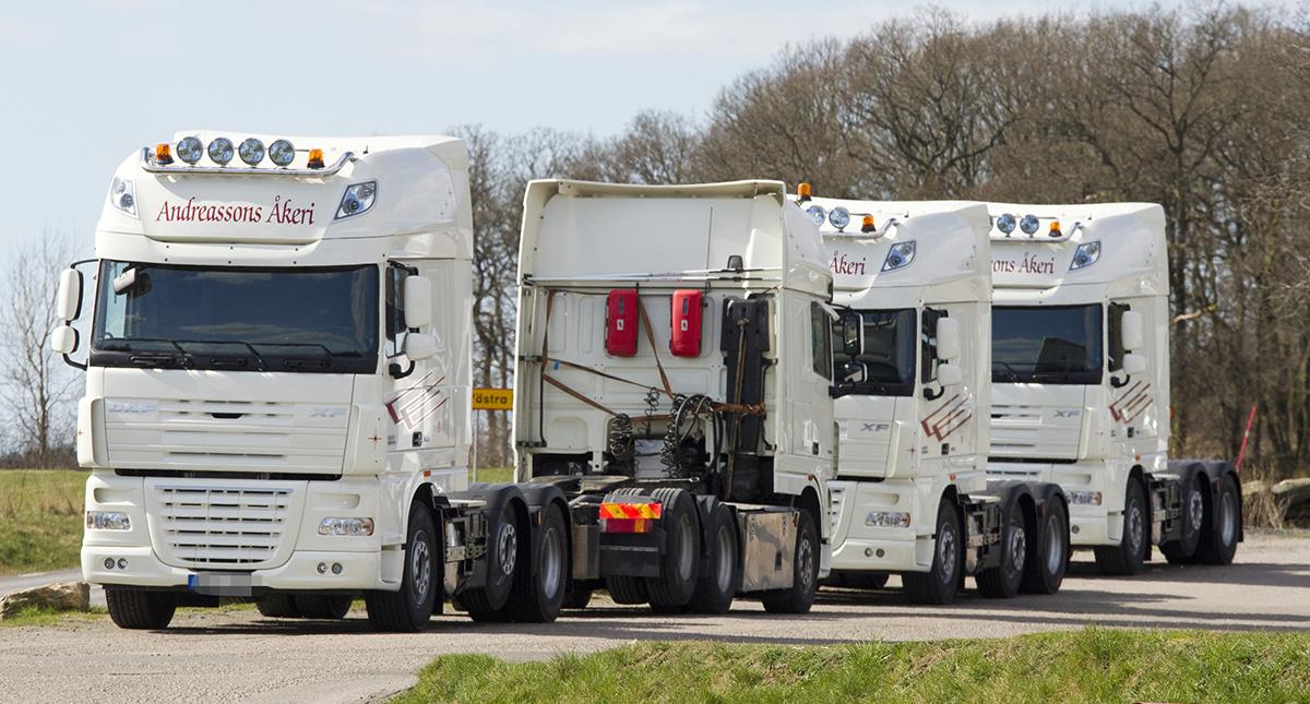 För några år sedan stod de vita dragbilarna på rad utanför Andreassons åkeri i Veddige.