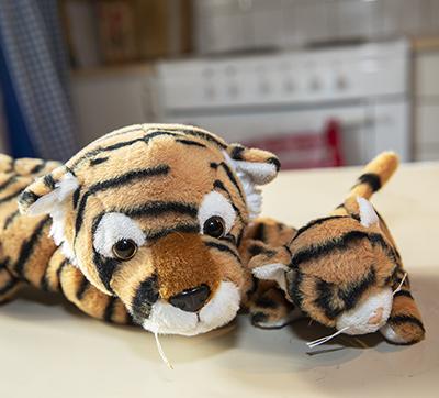 Peter och lilla Patrik. Tigrarna som alltid hänger med på hajk.