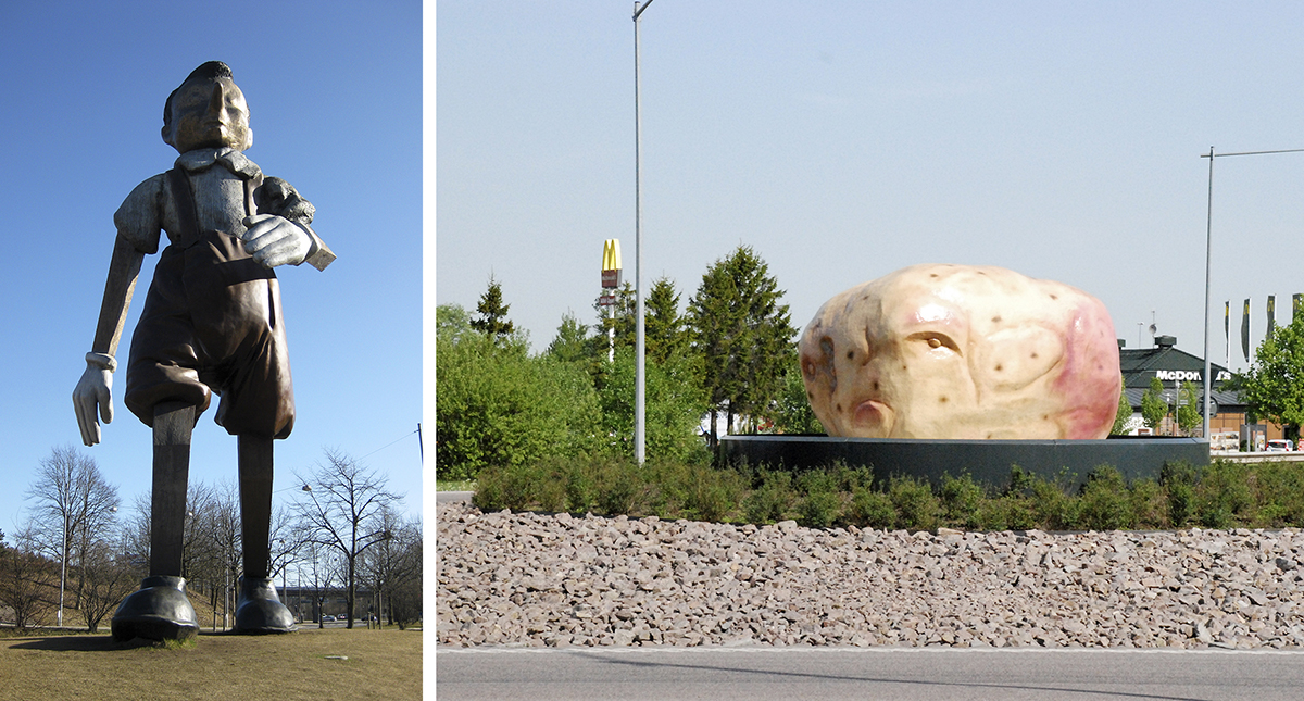 Rondellkonst: Pinocchio i Borås och potatisen i Mjölby